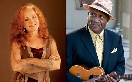 Bonnie Raitt (photo by Sam Jones) & Taj Mahal (photo by Jay Blakesberg)